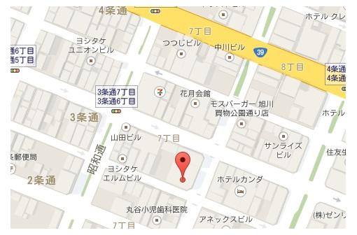UGG店舗@旭川 地図