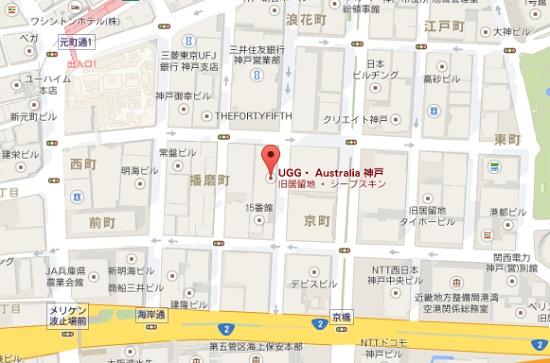 UGG神戸の直営店地図